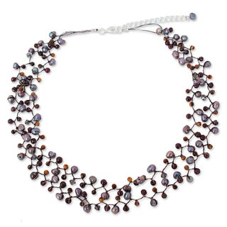 Cultured Pearl and Garnet Beaded Necklace, 'Stormy Weather' (Thailand)