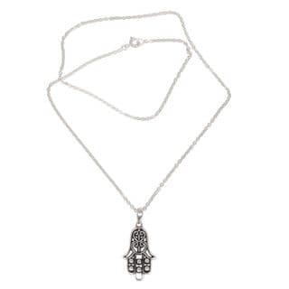 Sterling Silver Pendant Necklace, 'Silver Hamsa' (Indonesia)