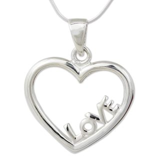 Handmade Sterling Silver Pendant Necklace, 'Love in My Heart' (Thailand)