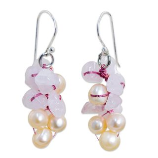 Handmade Pearl and Rose Quartz Cluster Earrings, 'Pink Bouquet' (Thailand)
