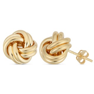 Fremada Italian 18k Yellow Gold 12.5-mm High Polish Love Knot Earrings