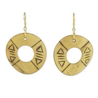 Bamboo Dangle Earrings, 'Preservation' (Ghana)