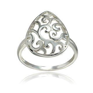Mondevio Sterling Silver High Polished Pear-shaped Filigree Ring