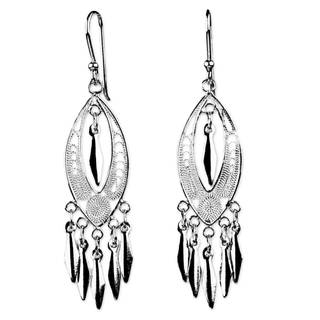 Handmade Sterling Silver Filigree Chandelier Earrings, 'Shining Spears' (Thailand)
