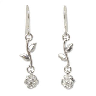 Handmade Sterling Silver Dangle Earrings, 'Garland' (Thailand)