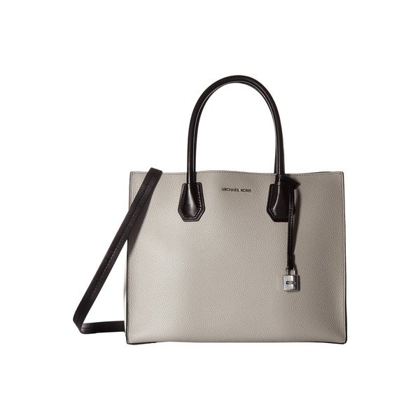 Michael Kors Studio Mercer Pearl Grey and Optic White Leather Large Convertible Tote Bag