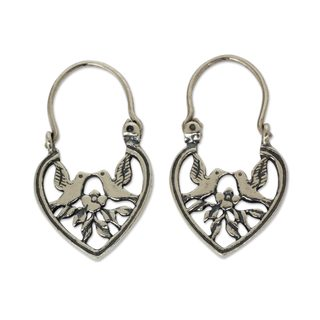Handmade Sterling Silver Hoop Earrings, 'Lovebirds' (Mexico)