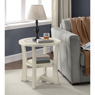 Eclipse Cream Glass Top End Table