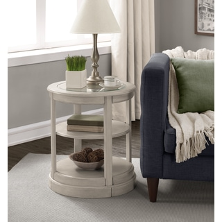 Round Grey Wooden End Table with Glass Top