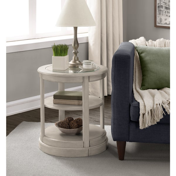 Glass Wooden Side Tables: Shop Copper Grove Round Grey Wooden End Table With Glass