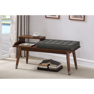 Charcoal Tufted Telephone Bench