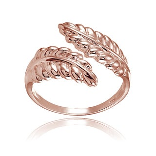 Mondevio 18k Rose Gold Over Sterling Silver High Polished Leaf Wrap Ring