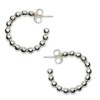 Sterling Silver Half Hoop Earrings, 'Moonglow' (Mexico)