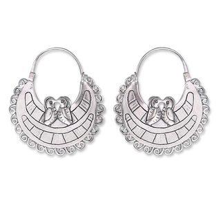 Handmade Sterling Silver Hoop Earrings, 'Lovebirds' (Mexico)