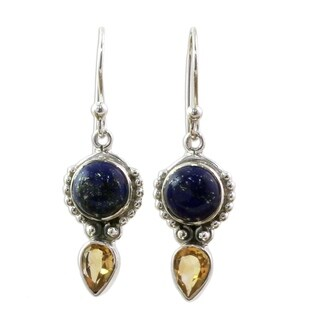 Citrine and Lapis Lazuli Dangle Earrings, 'Indian Dew' (India)