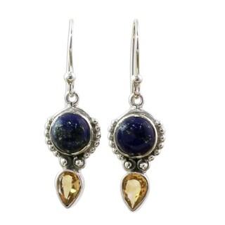 Handmade Citrine and Lapis Lazuli Dangle Earrings, 'Indian Dew' (India)