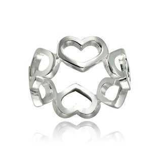 Mondevio Sterling Silver High Polished Open Heart Band Ring