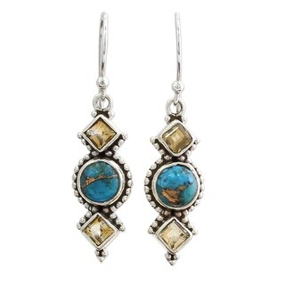 Citrine Dangle Earrings, 'Seashore Radiance' (India)