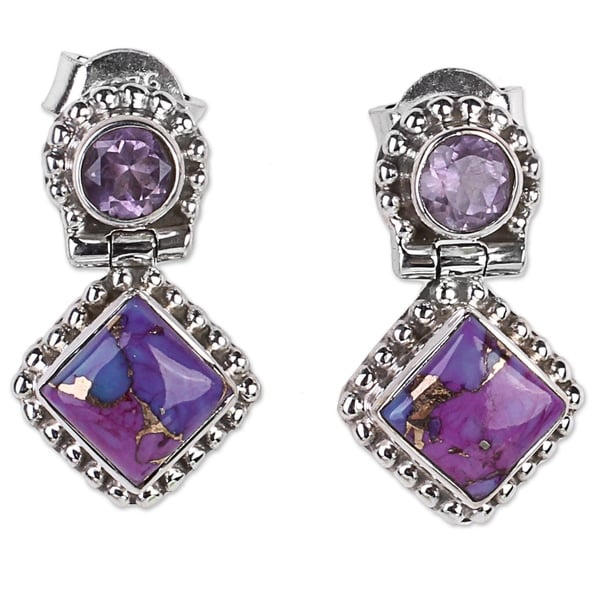 134e6a6dee70b Handmade Amethyst Drop Earrings, 'Purple Enigma' (India)