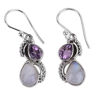 Handmade Amethyst and Rainbow Moonstone Dangle Earrings, 'Two Teardrops' (India)