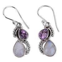 Handmade Amethyst and Rainbow Moonstone Dangle Earrings, 'Two Teardrops' (India)