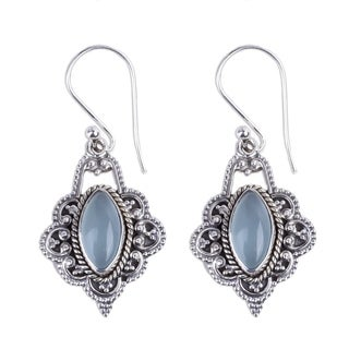 Handmade Chalcedony Dangle Earrings, 'Shimmering Beauty' (India)