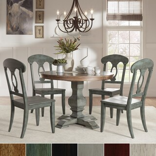 Eleanor Sage Green Round Solid Wood Top Napoleon Back 5-Piece Dining Set by iNSPIRE Q Classic