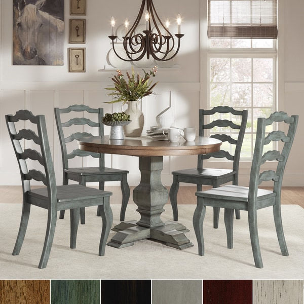 Eleanor Sage Green Round Solid Wood Top Ladder Back 5 Piece Dining Set By Inspire