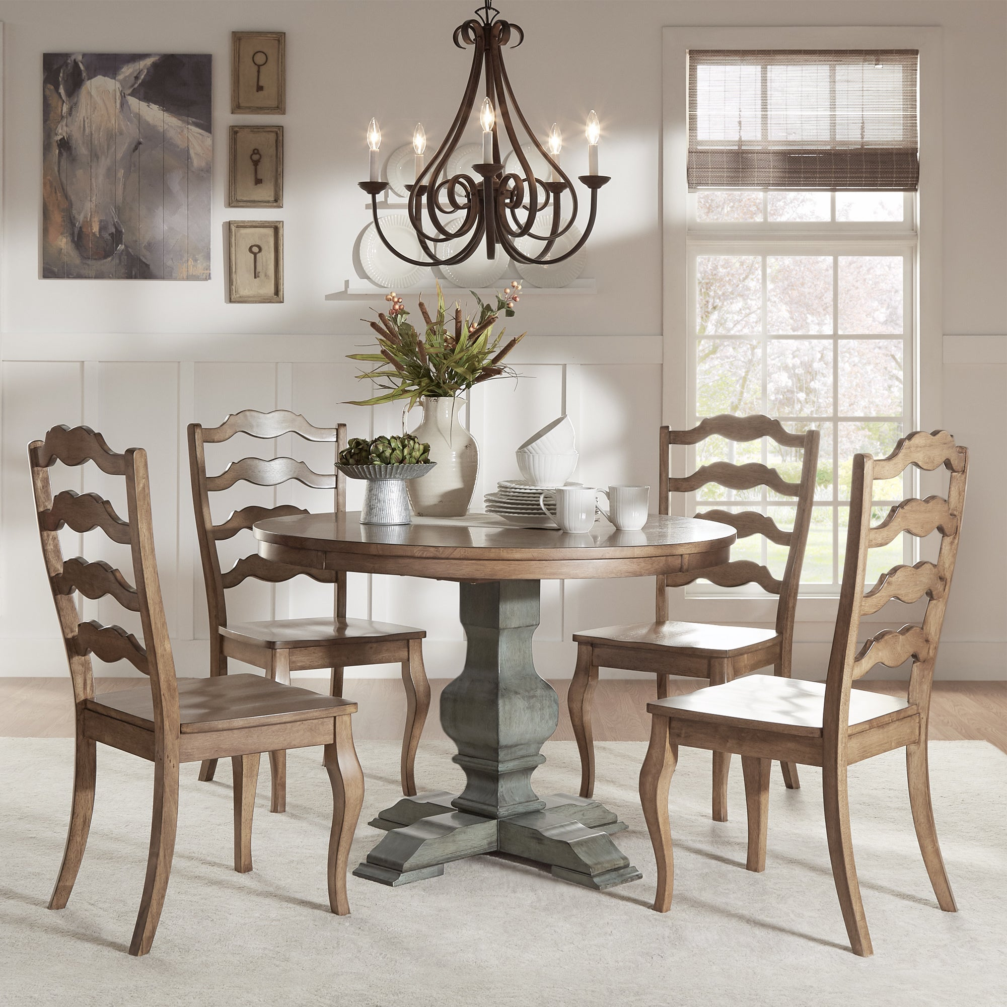 Eleanor Sage Green Round Solid Wood Top Ladder Back 5-piece Dining Set by  iNSPIRE Q Classic