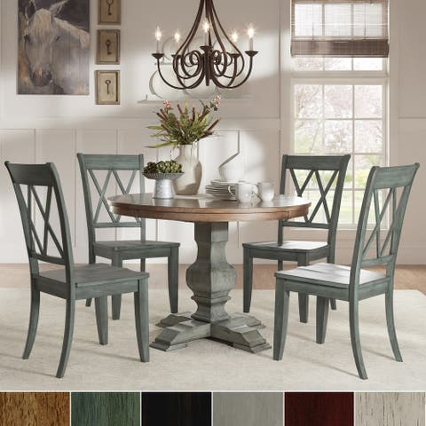 Eleanor Sage Green Round Solid Wood Top Double X Back 5-piece Dining Set by iNSPIRE Q Classic