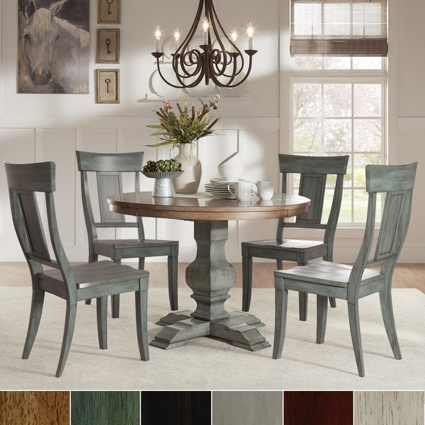 Free Kitchen Solid Oak Dining Room Sets Renovation With: Eleanor Sage Green Round Solid Wood Top Panel Back 5-piece