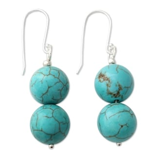 Handmade Sterling Silver Dangle Earrings, 'Azure Paths' (India)