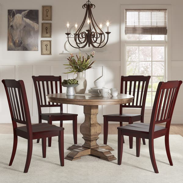 Eleanor Oak Round Solid Wood Top And Slat Back Chairs 5 Piece Dining Set By Inspire Q Classic Overstock 14542780 Berry Red Chairs Oak Table