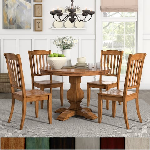 Eleanor Oak Round Solid Wood Top and Slat Back Chairs 5-piece Dining Set by iNSPIRE Q Classic