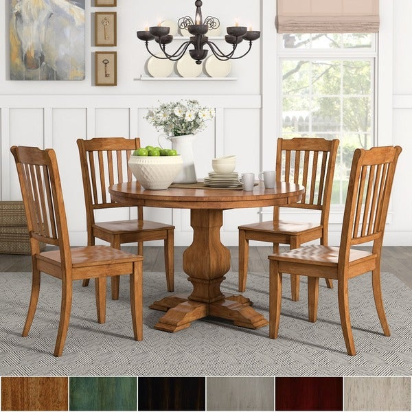 Shop Eleanor Oak Round Solid Wood Top And Slat Back Chairs