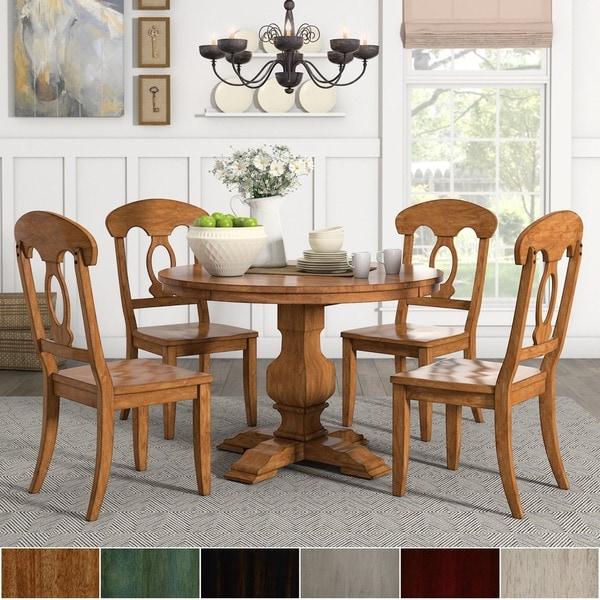 Eleanor Oak Round Soild Wood Top 5-Piece Dining Set - Napoleon Back by iNSPIRE Q Classic