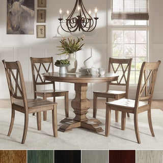 Eleanor Oak Round Soild Wood Top and X Back Chairs 5-piece Dining Set by iNSPIRE Q Classic