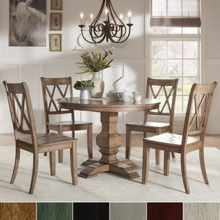 Eleanor Oak Round Soild Wood Top And X Back Chairs 5 Piece Dining Set By