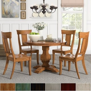 Eleanor Oak Round Soild Wood Table and Panel Back Chairs 5-piece Dining Set by iNSPIRE Q Classic