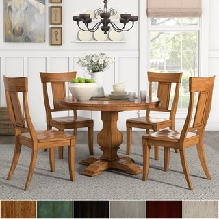 Eleanor Oak Round Soild Wood Top 5-Piece Dining Set - Panel Back by TRIBECCA HOME