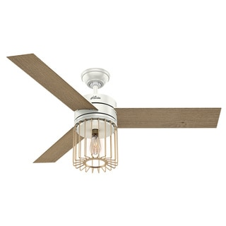 Hunter Ronan Fresh White and Modern Brass 52-inch 3 Aged Oak/White Grain Reversible Blades Ceiling Fan