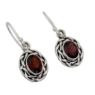 Garnet Dangle Earrings, 'Indian Basket' (India)