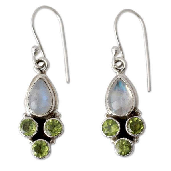 Handmade Rainbow Moonstone And Peridot Dangle Earrings X27 Moonlit Meadow