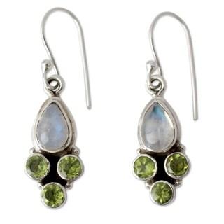 Handmade Rainbow Moonstone and Peridot Dangle Earrings, 'Moonlit Meadow' (India)