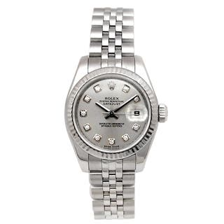 Pre-owned Rolex Stainless Steel Women's Datejust Watch with Diamond Markers|https://ak1.ostkcdn.com/images/products/14543363/P21094946.jpg?impolicy=medium