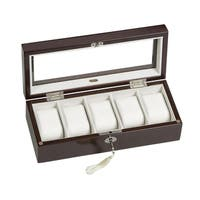 Mele & Co. Macon Mahogany Finish Glass Top Wooden Watch Box