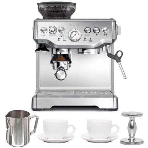 Breville BES870XL Barista Express Espresso Machine with Espresso Tamper, Frothing Pitcher & Two Cups and Saucers