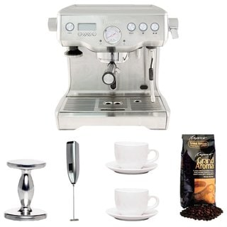 Breville BES920XL Dual Boiler Espresso Machine + Tamper + Cups + Coffee +Frother
