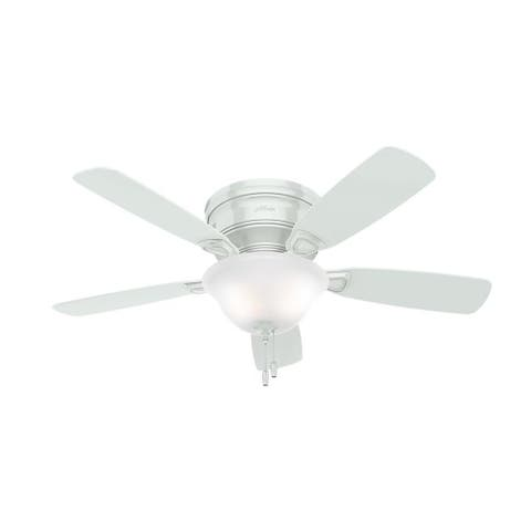 """Hunter 48"""" Low Profile Ceiling Fan with LED Light Kit and Pull Chain - White"""