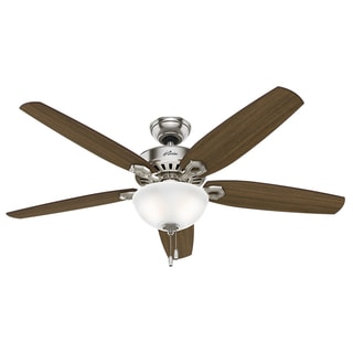 Hunter Fan Builder Great Room Brushed Nickel 56-inch Ceiling Fan with 5 Brazilian Cherry Harvest Mahogany Reversible Blades